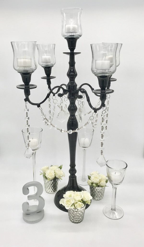 Black Candelabra Candle Crystals Centerpiece
