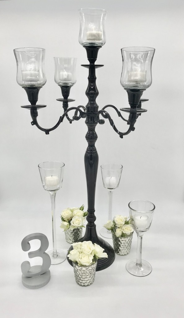 Black Candelabra Candle Centerpiece