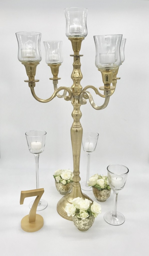 Gold Candelabra Candle Centerpiece
