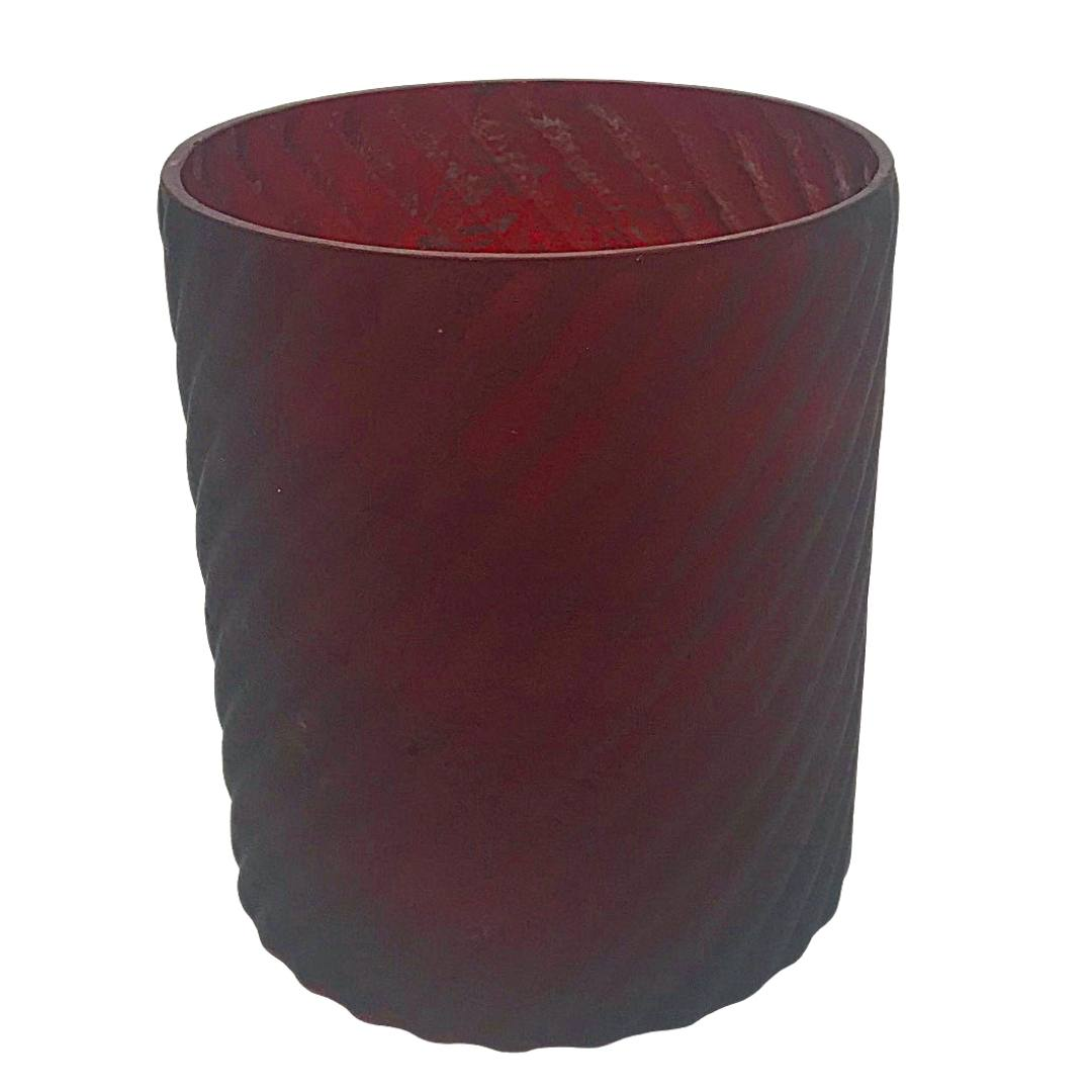 red vase candleholder wedding event centerpiece
