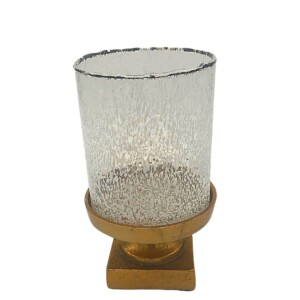 gold candleholder winter wedding event centerpiece