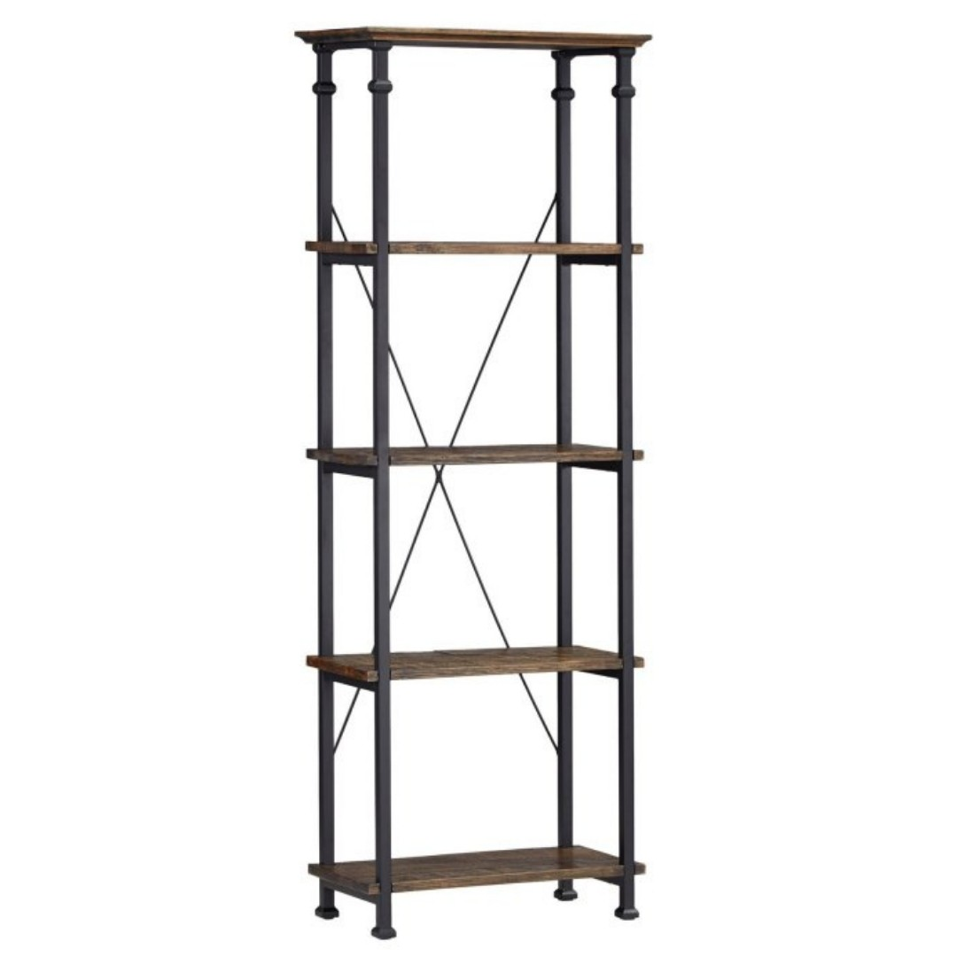 event decor rental wood metal shelves bookcase rustic wedding reception bar