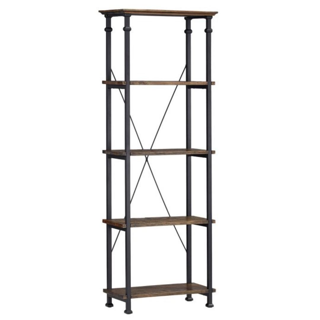 event decor rental wood metal shelves bookcase rustic wedding reception bar