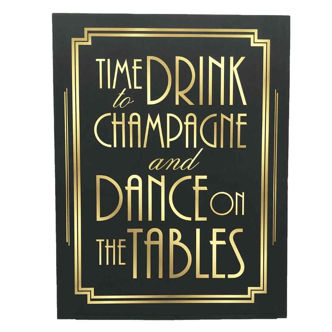 event decor rental roaring prohibition giggle water cocktails signage wedding reception gold black