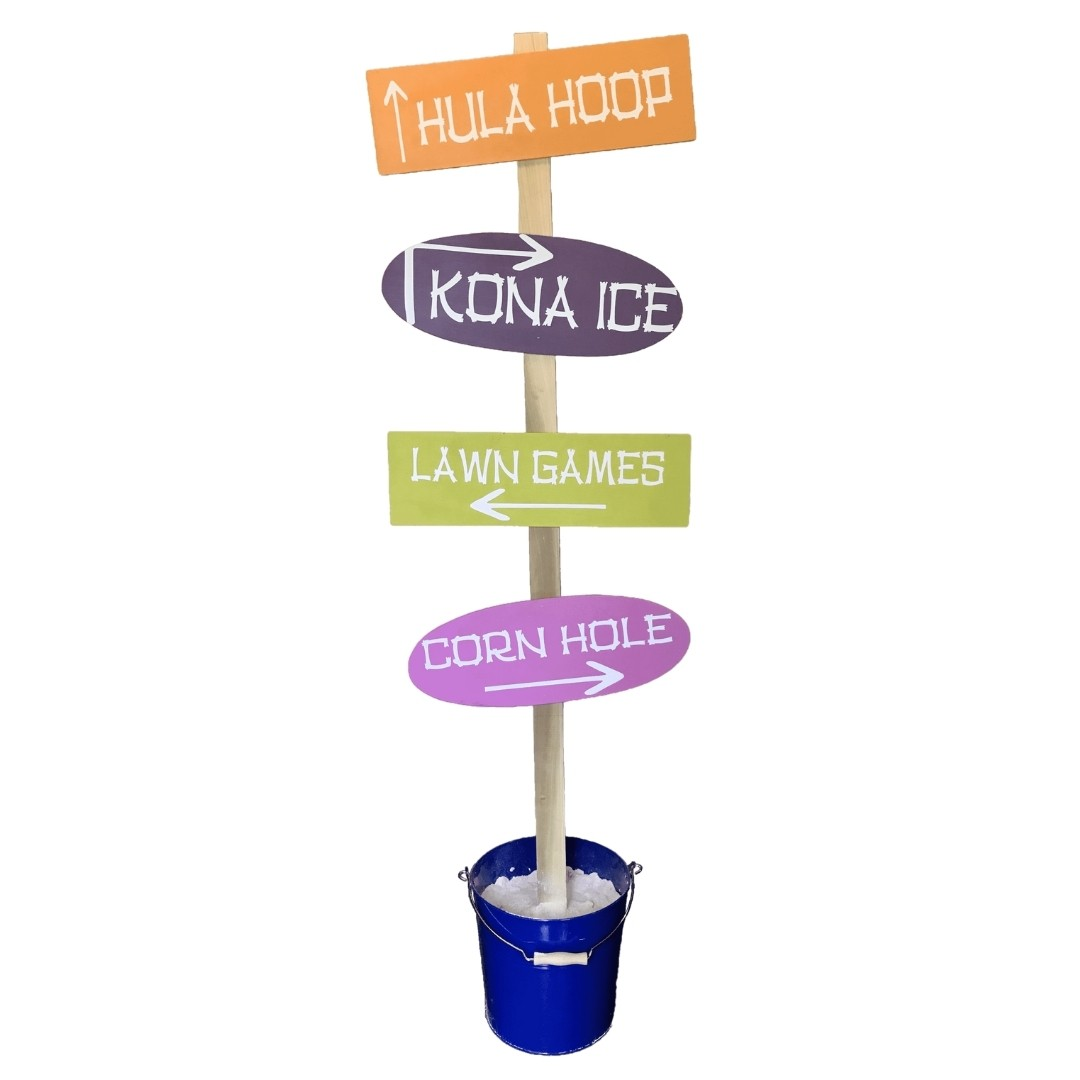event decor rental beach directional direction sand bucket wedding reception party